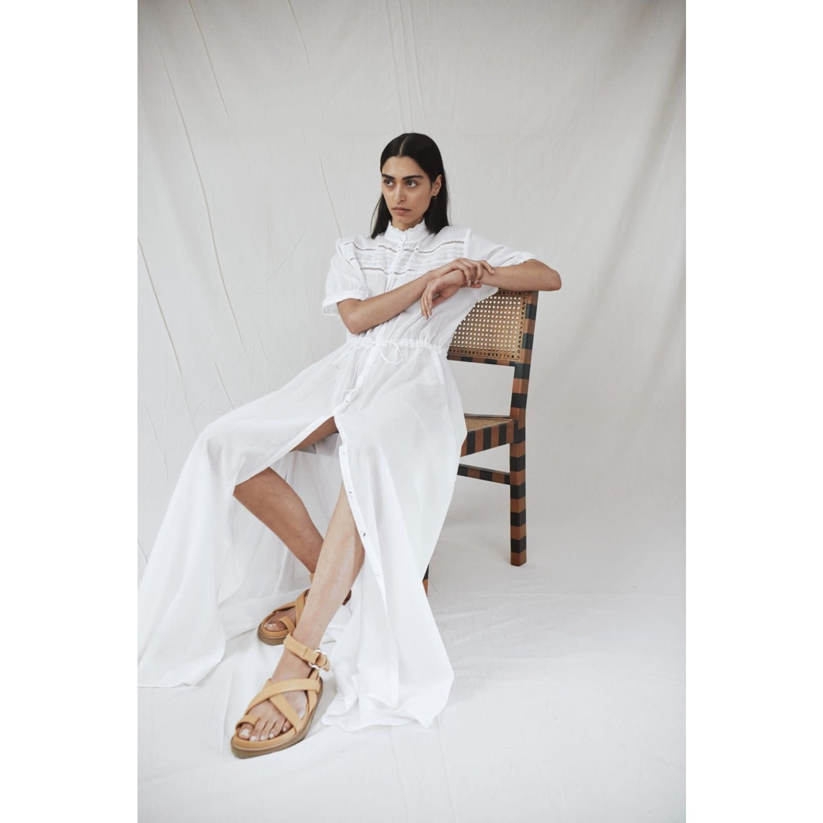 Matin Studio White Lace Trim Dress