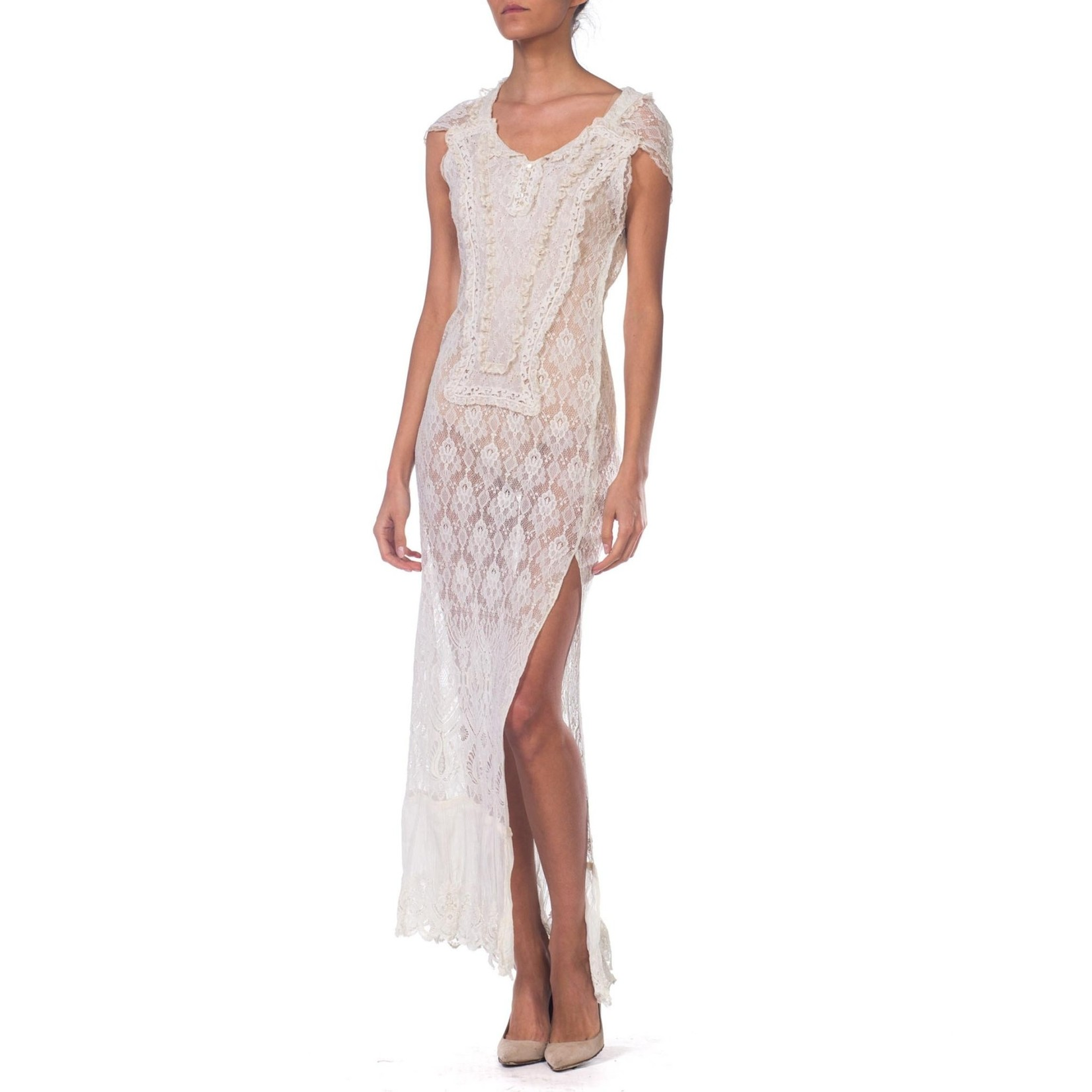 Wyld Blue Vintage MORPHEW COLLECTION White Maxi Resort Dress Made from Edwardian & 1930's Lace  MCFD7ON0386