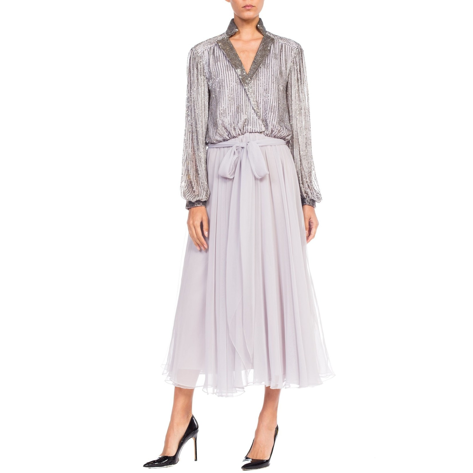 Wyld Blue Vintage 1970s  Grey Polyester Chiffon Low-cut Beaded Tea Length Gown with Baloon Sleeves