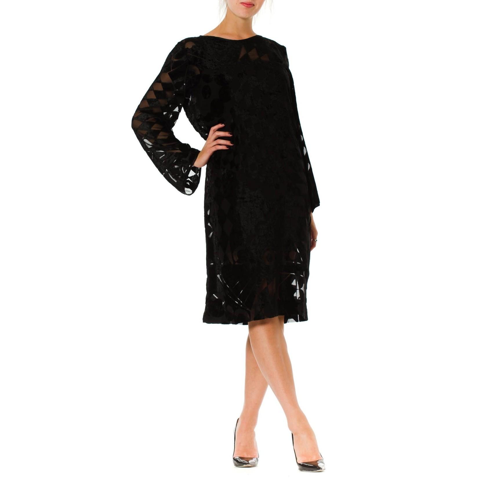 Wyld Blue Vintage 1980s Black Silk Burnout Chiffon Geometric Long Sleeve Tunic Cocktail Dress