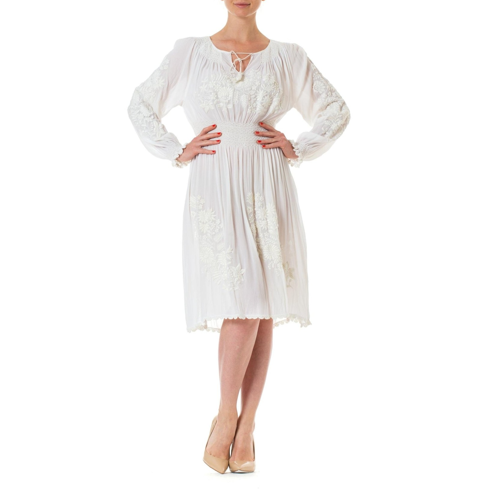 Wyld Blue Vintage 1920s White Rayon Crepe Chiffon Hand Embroidered Long Sleeve Boho Peasant Bridal Dress