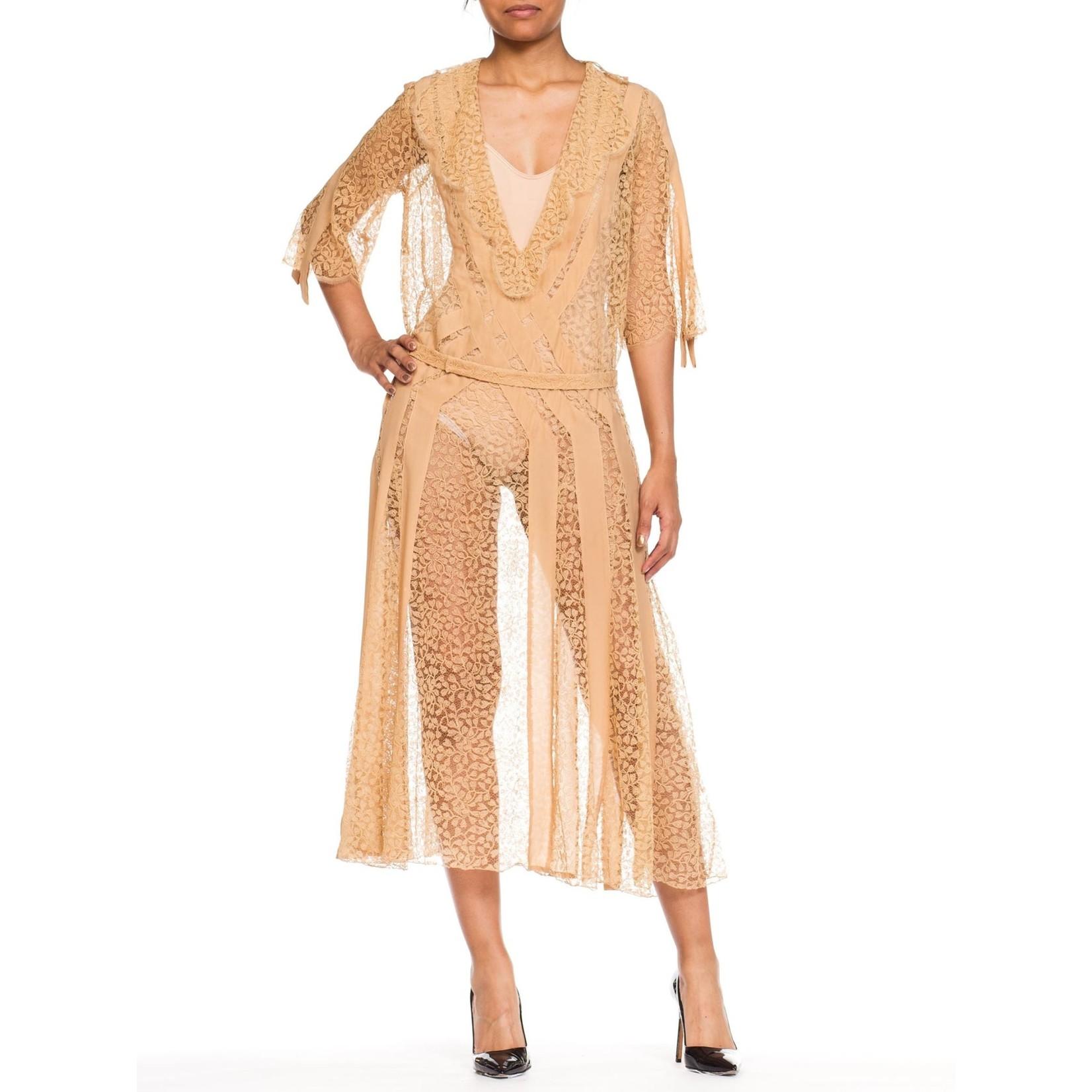 Wyld Blue Vintage 1920s Beige Silk & Lace Dress With Art Deco Appliqué Design & Slip, XL