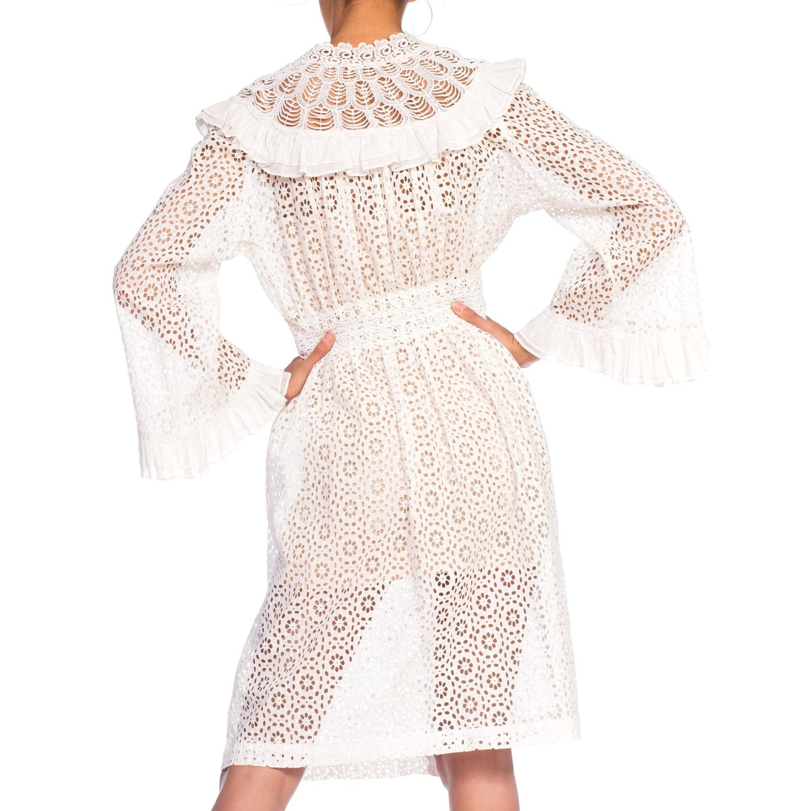 Wyld Blue Vintage MORPHEW COLLECTION White Organic Cotton Belle Sleeve Dress with Ruffle Detail Made from Victorian Eyelet Lace Duster
