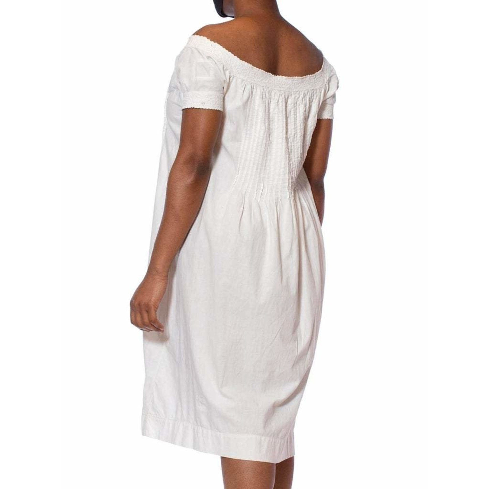 Wyld Blue Vintage Victorian White Hand Embroidered Organic Cotton 1860s Chemise Dress