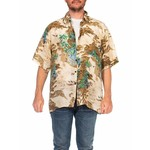 Wyld Blue Vintage 1970s Beige Silk Men's Tony Montana Style Hawaiian Shirt