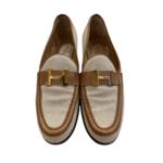 Wyld Blue Vintage Hermes H Logo Canvas Brown leather Loafers