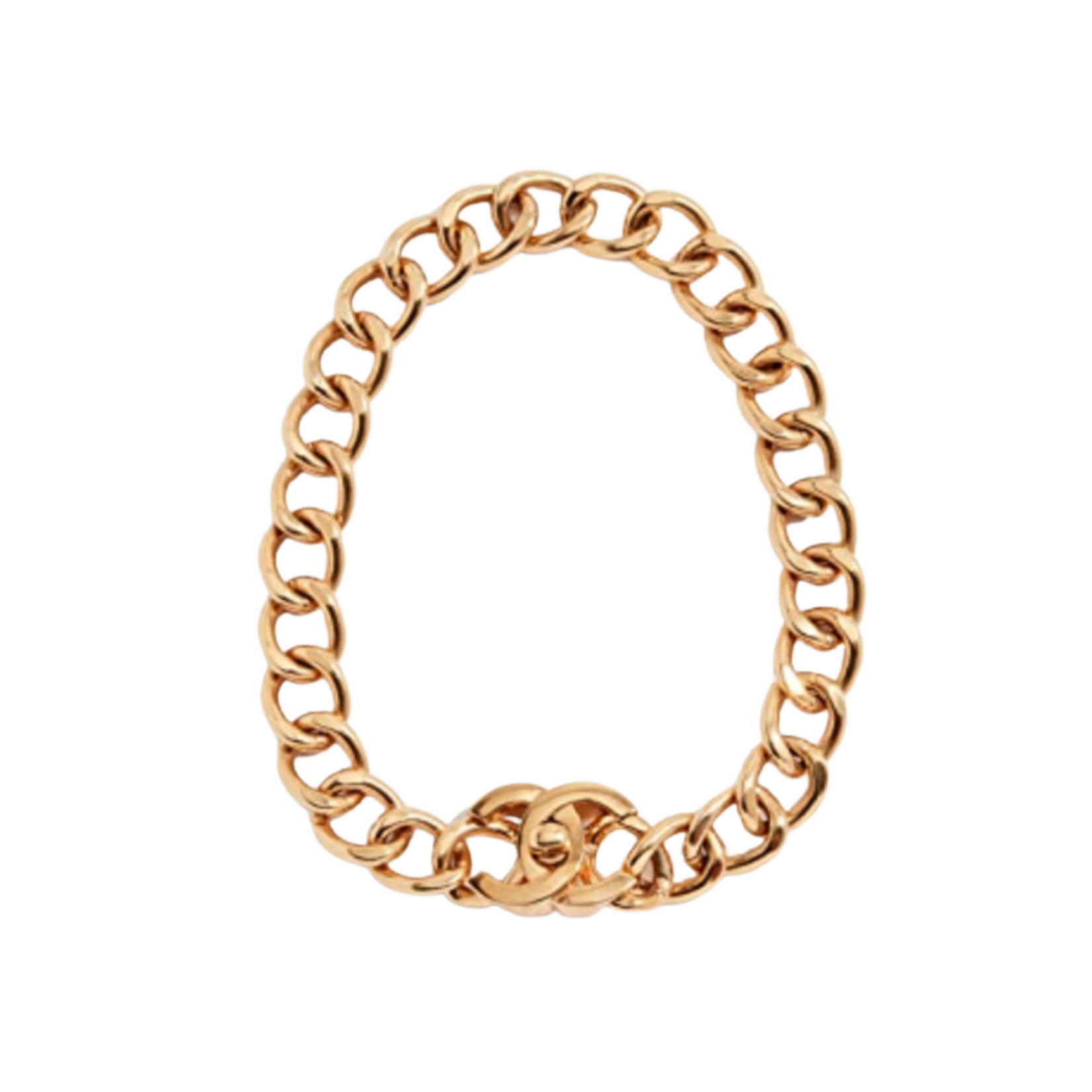 What Goes Around Comes Around Chanel Turnlock Necklace - Gold