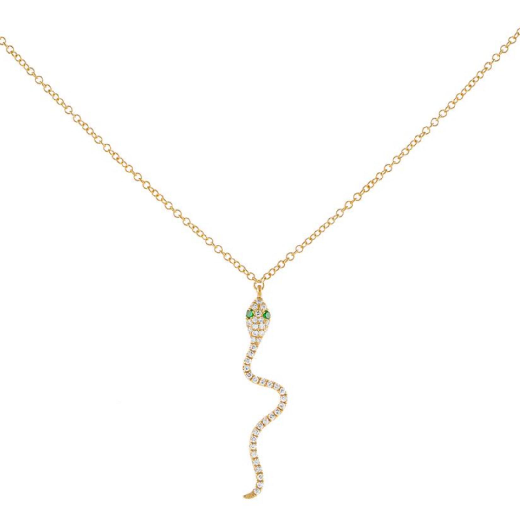 Adinas Diamond Dangling Snake Necklace 14k