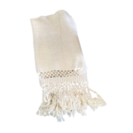 Wyld Blue Home White Knit Blanket Detailed Fringe