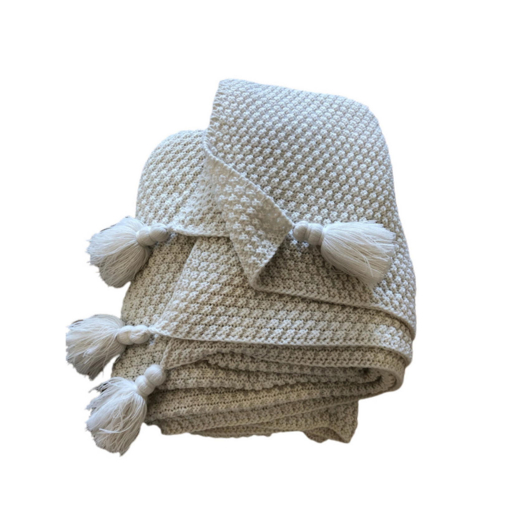 Wyld Blue Home Knit Blanket White w/ Tassle