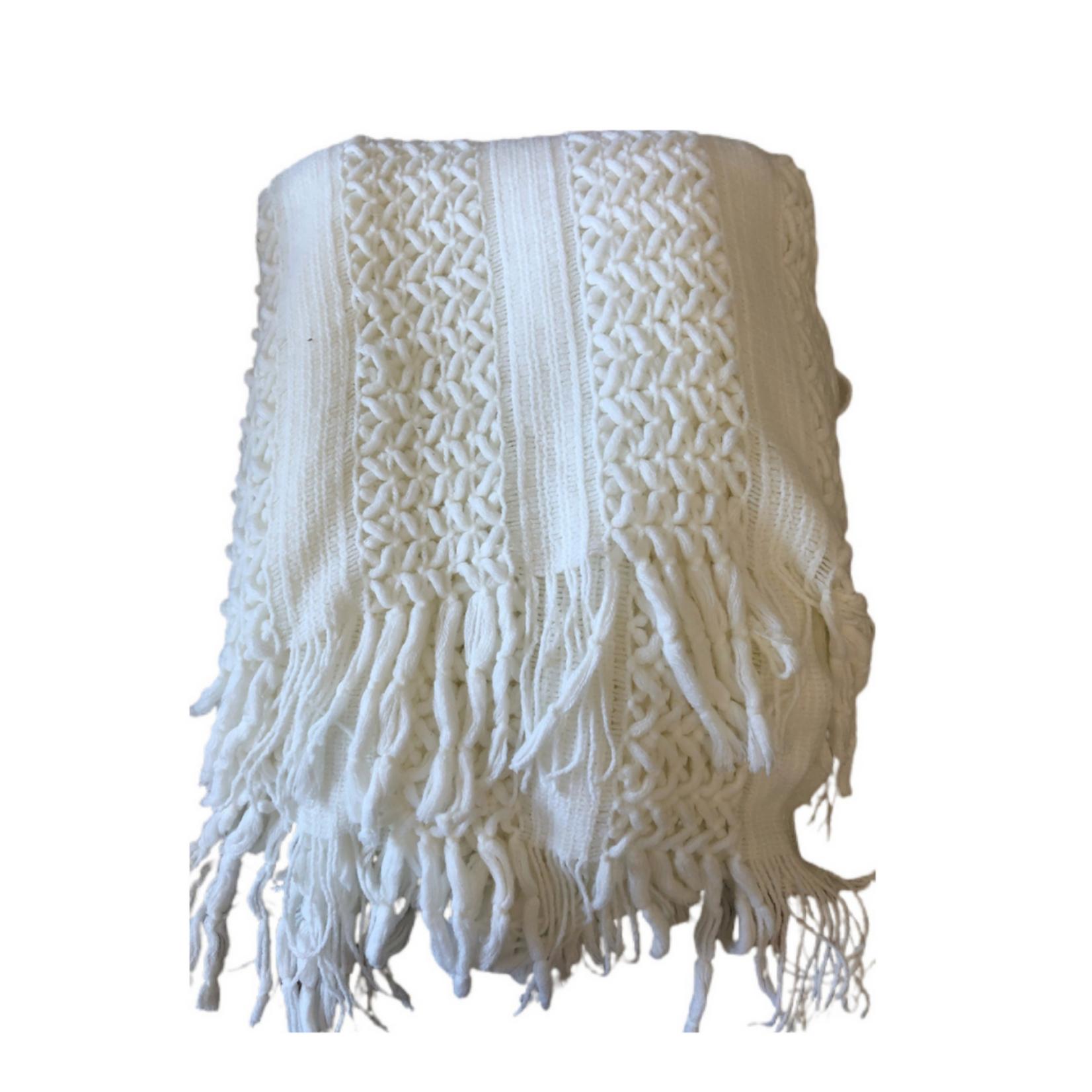 Wyld Blue Home White Crochet Fringe Blanket