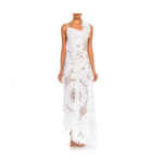 Wyld Blue Vintage MORPHEW COLLECTION White Linen Entirely Hand-Embroidered Cut Out White Dress
