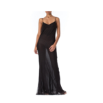 Wyld Blue Vintage 1990s Black Bias Cut Silk Chiffon Ombré Beaded Gown