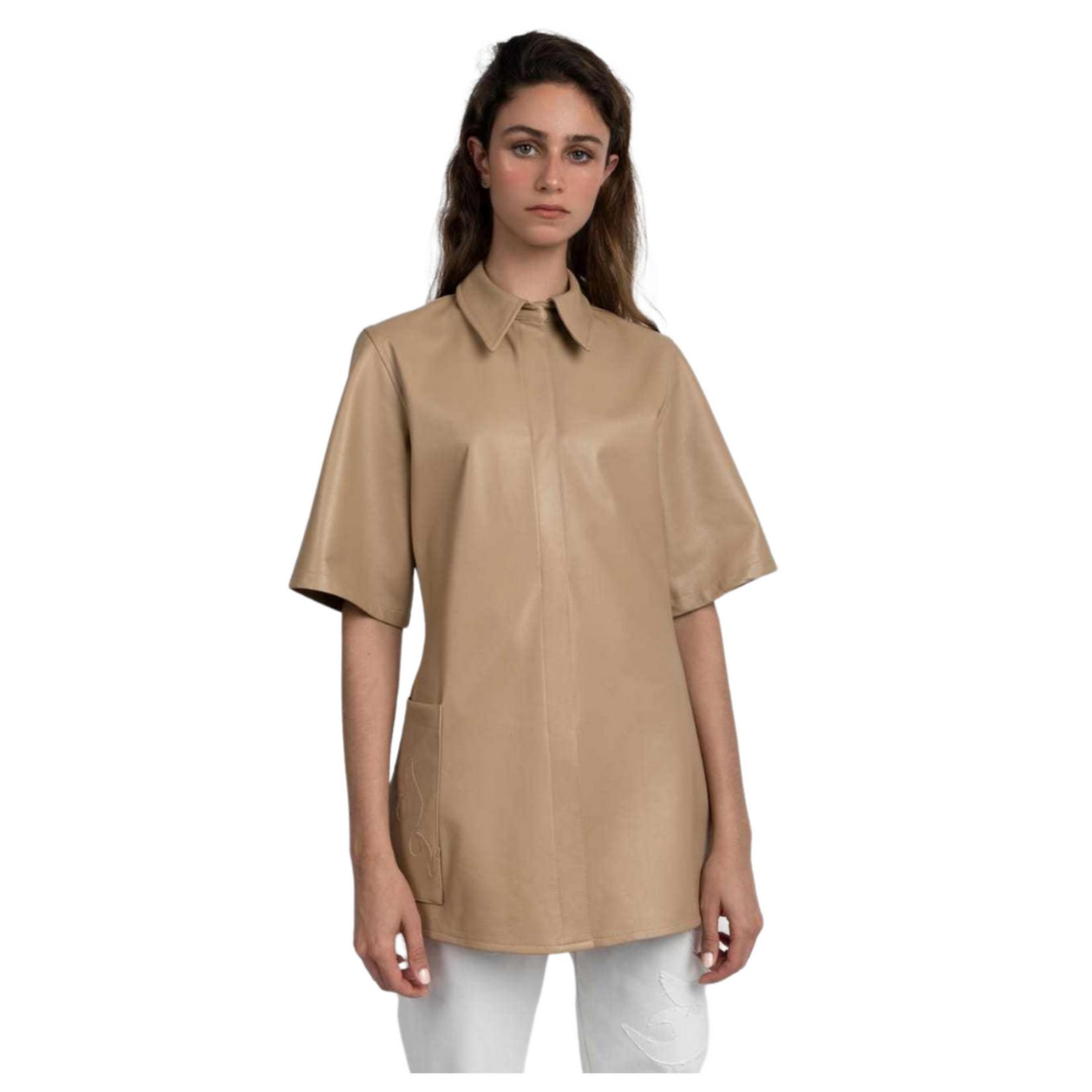 Esant Faia Pocket Leather Top