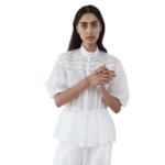 Matin Studio White Lace Trim Top