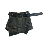 Wyld Blue Black Leather Motorcycle Asymmetrical Skirt