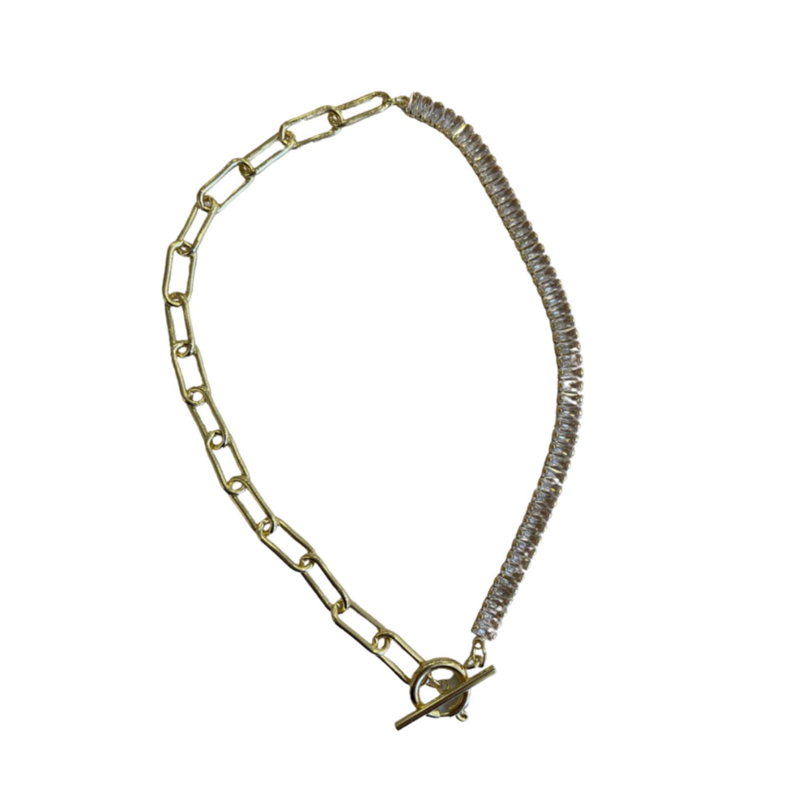 Wyld Blue Crystal & Gold Link Necklace