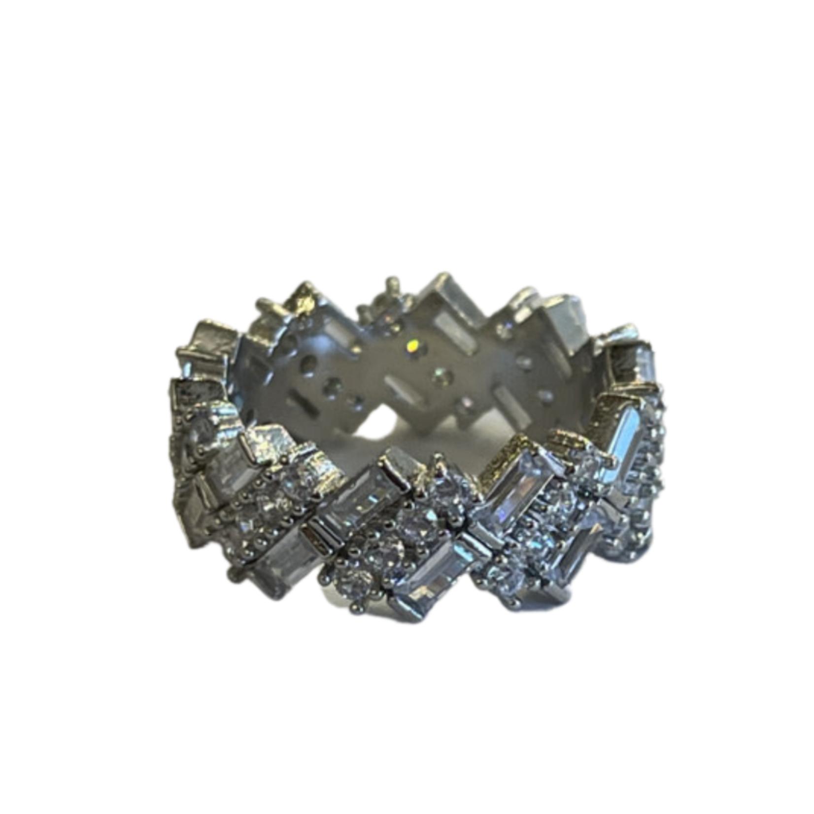 Wyld Blue Chunky Multi Shape Ring Silver