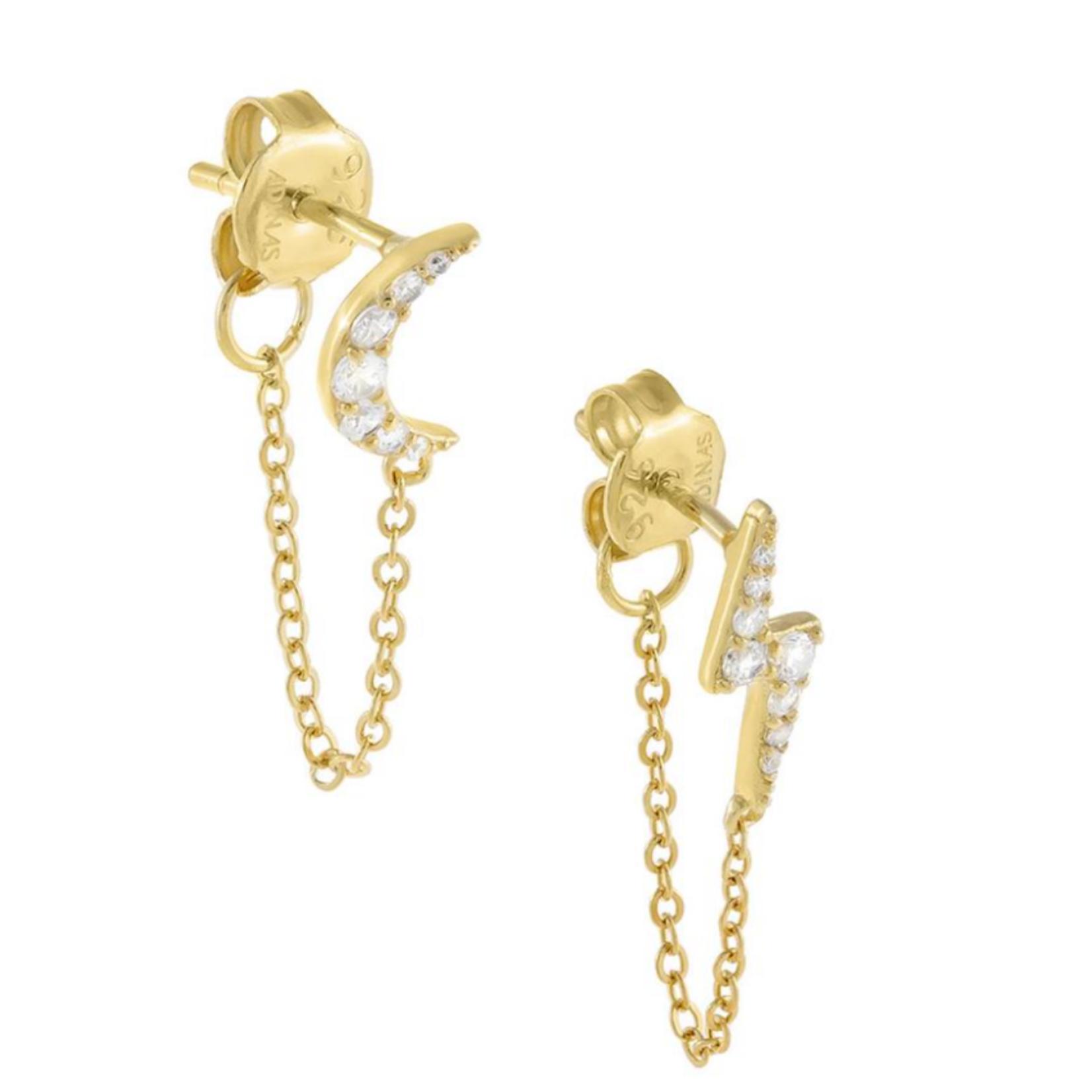 Adinas Pave Celestial Chain Stud Earrings