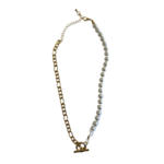 Wyld Blue Pearl & Gold Chain Necklace