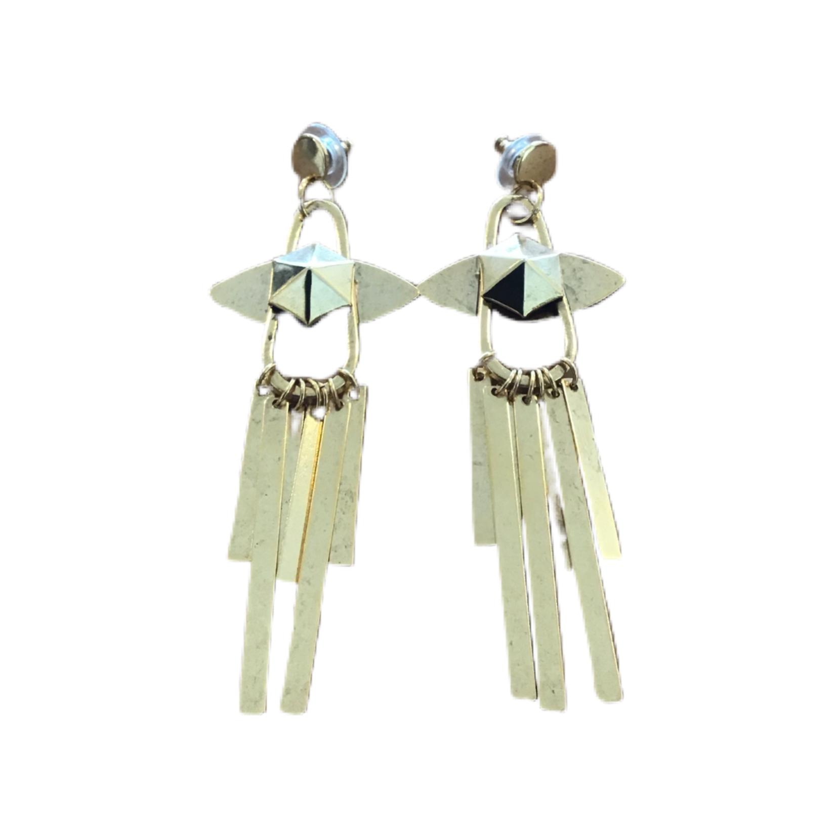 Nicole Romano Gold Oval Hoop, Hexagon Stud & Bar Chain Fringe Earrings