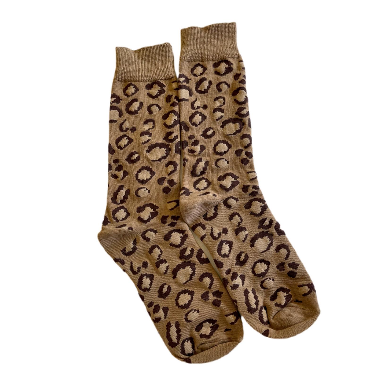 Wyld Blue Brown Leopard Socks Tall