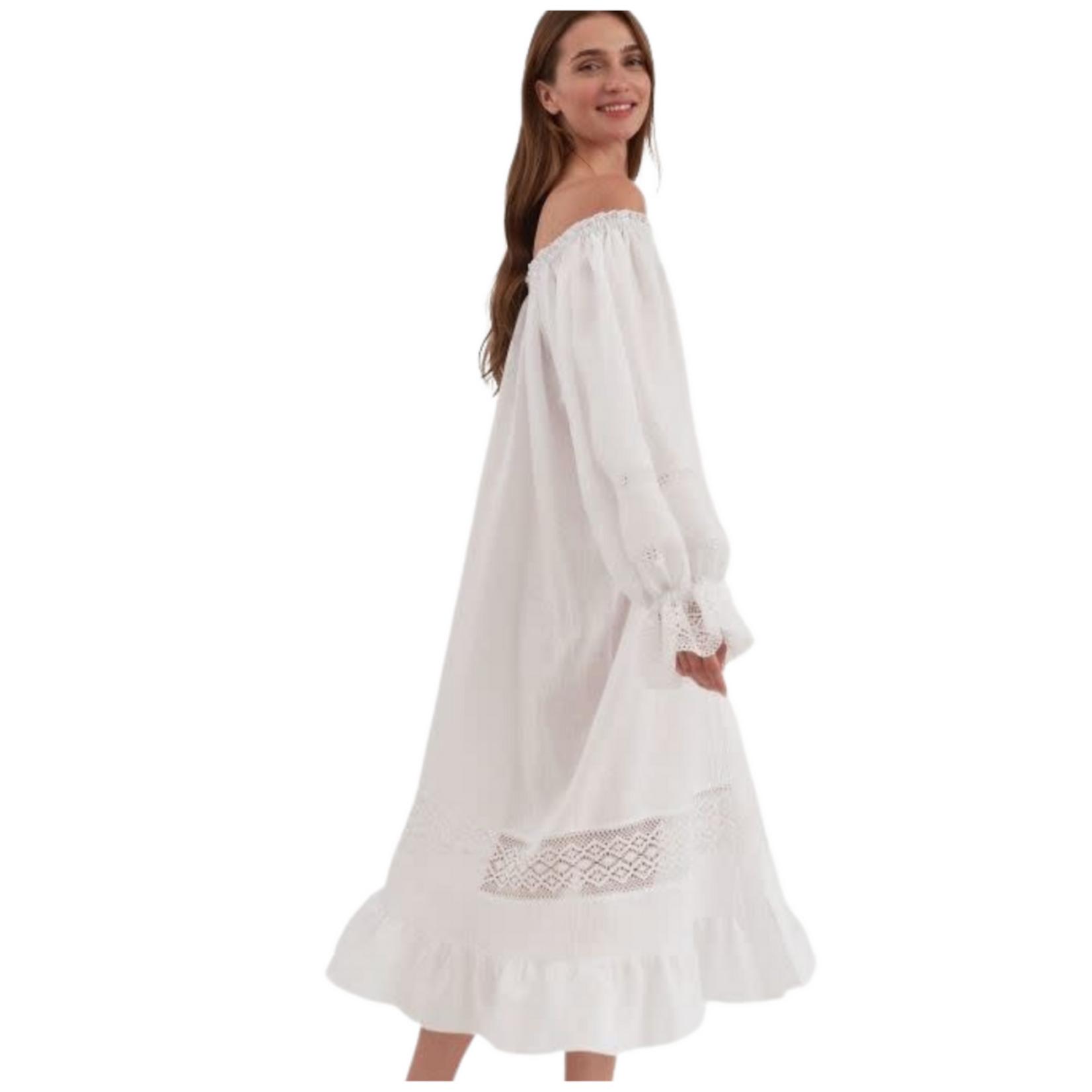 The Sleeper Paloma Linen Dress in White