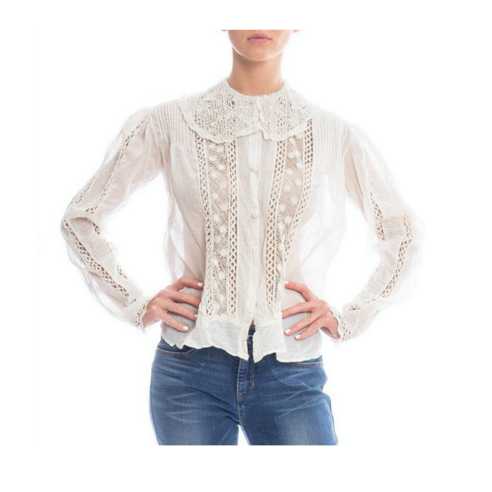 Wyld Blue Vintage Edwardian White Cotton Voile & Lace Button Front Blouse Made in New York Label  WLT3ON704