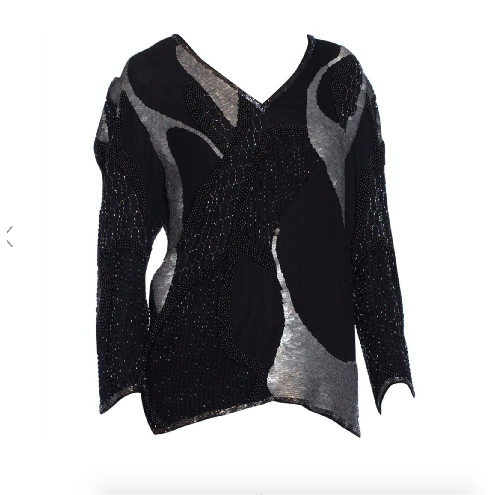1980s Black & Silver Silk Abstract Beaded & Sequined  Top BT9ON36296