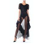 1930s Black Rayon Net Balloon Sleeve Gown with Taffeta Ruffles 34G6ON0177