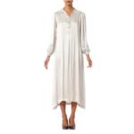 1930s Slinky Silk Crepe Back Satin Straight Cut Shirt House Dress SL9ON34382