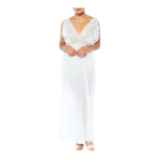 1900s White Cotton Edwardian Nightgown Dress with Inset Filet Lace and Hand-embroidered Net LDVIC5ON0320