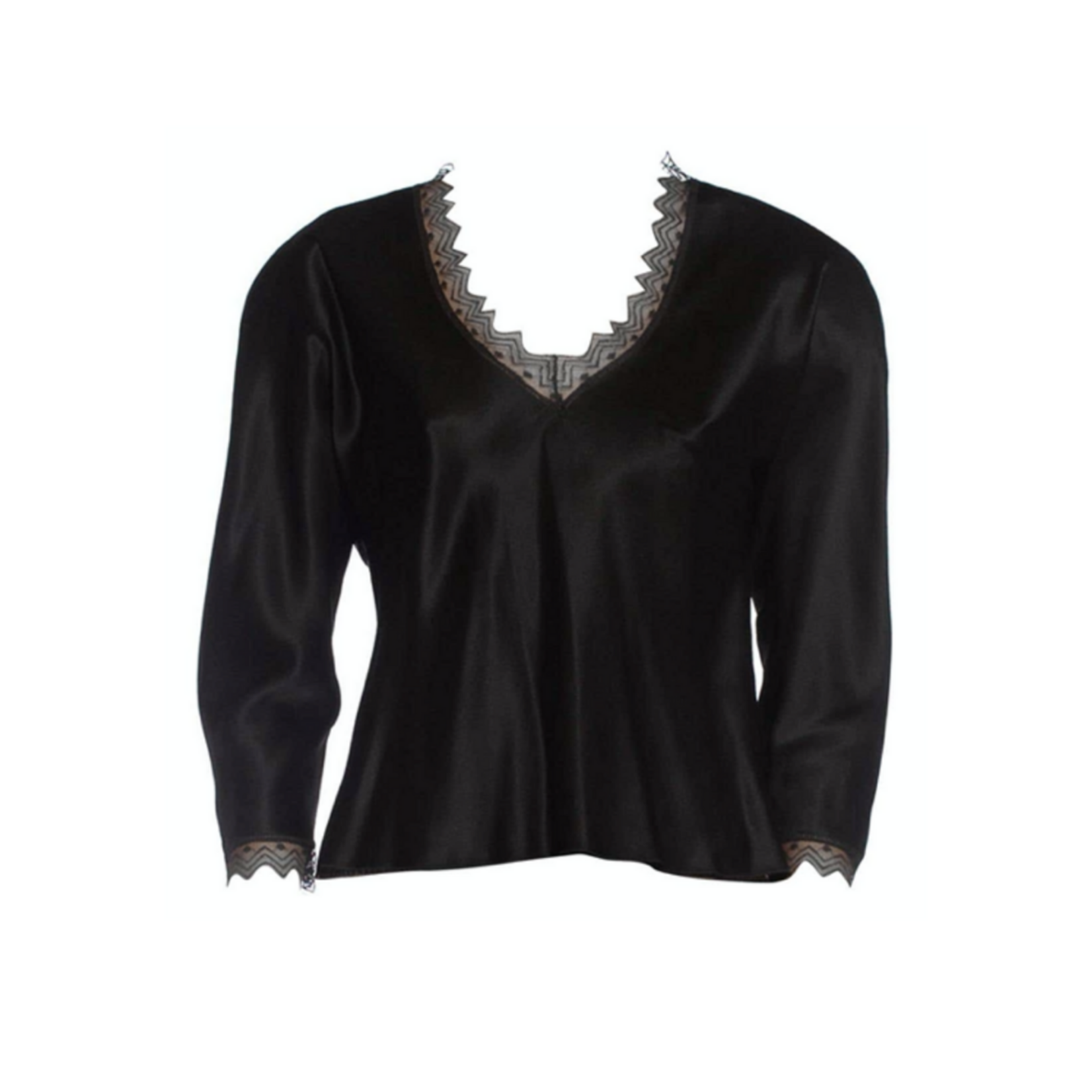 Wyld Blue Vintage 1980s JACKIE ROGERS Black Silk Charmeuse Lace Trimmed Blouse DST9ON43083