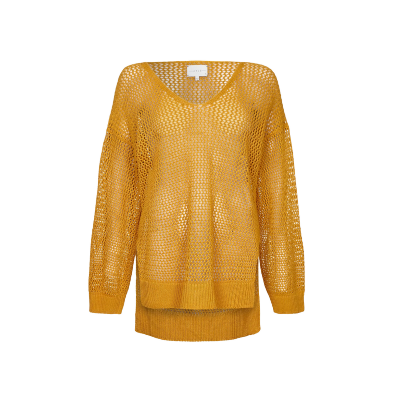 Arjé Lila Linen Basket Knit Box Sweater Saffron