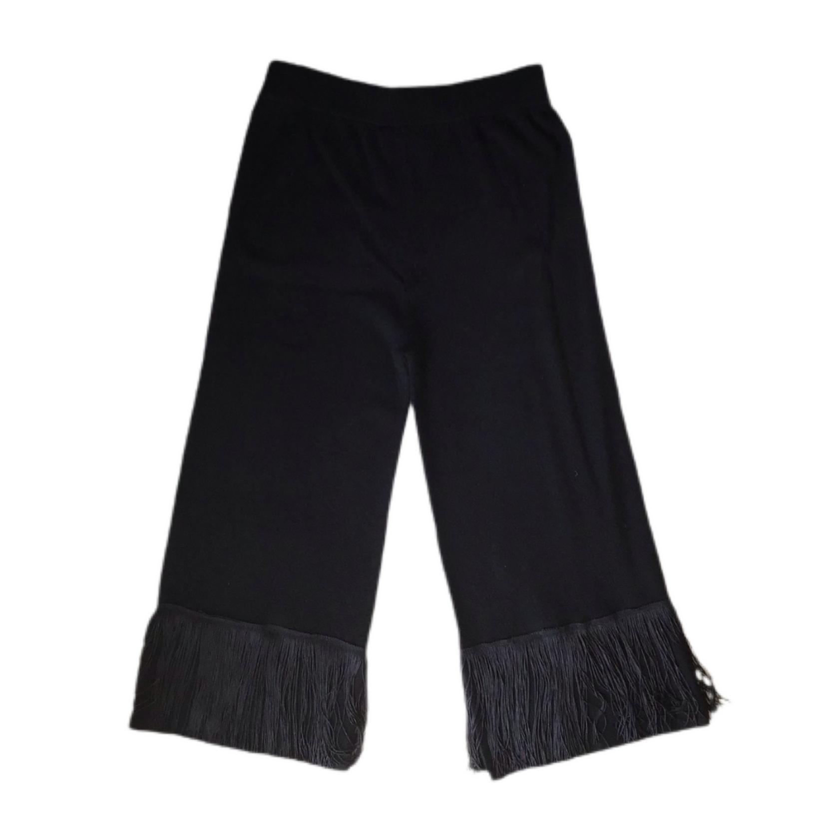 Zenzee Black Cashmere Pant With Fringe