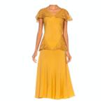 1930s Golden Yellow Bias Cut Rayon & Silk Faille & Lace Peplum Dress 23D9ON43286