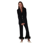 The Sleeper Party Pajama Set with Feathers in Black