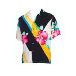 Wyld Blue Vintage 1970s Beige Silk Mens Tony Montana Style Hawaiian Shirt MENSS9ON4316