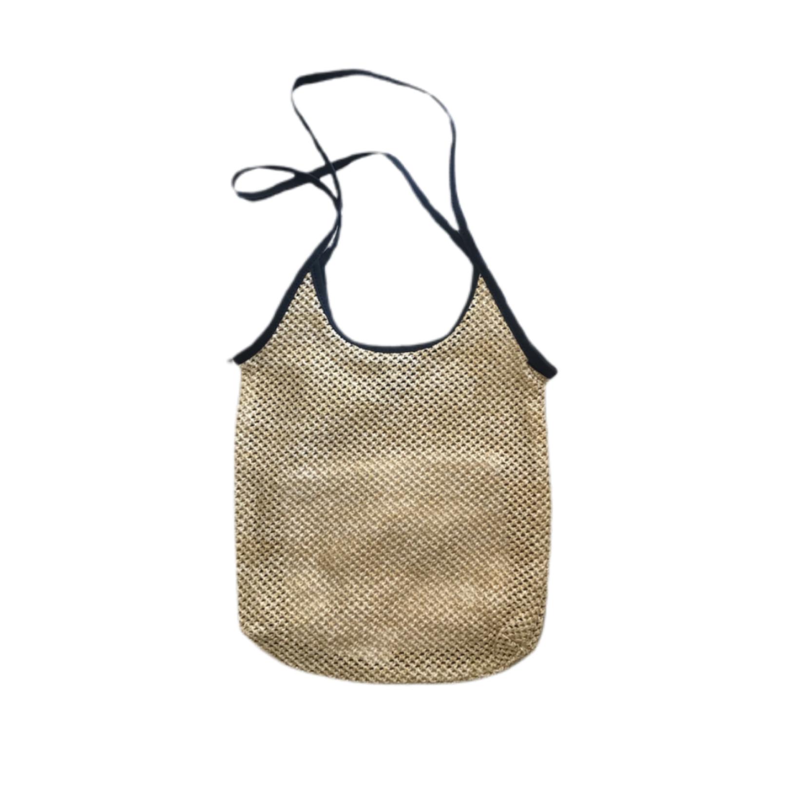 Wyld Blue Woven Shoulder Bag - Black Trim
