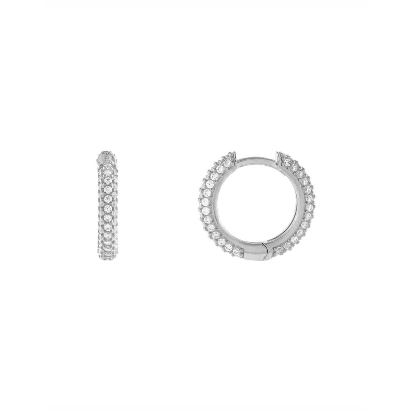 Adinas Pave Huggie Earrings Silver