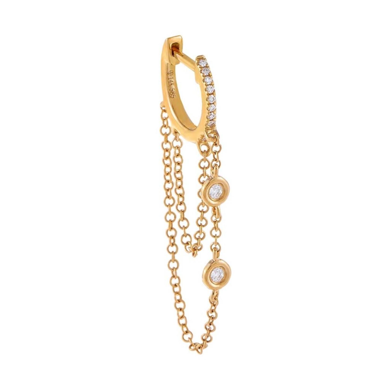 Adinas Diamond Bezel Double Chain Huggie Earring 14K