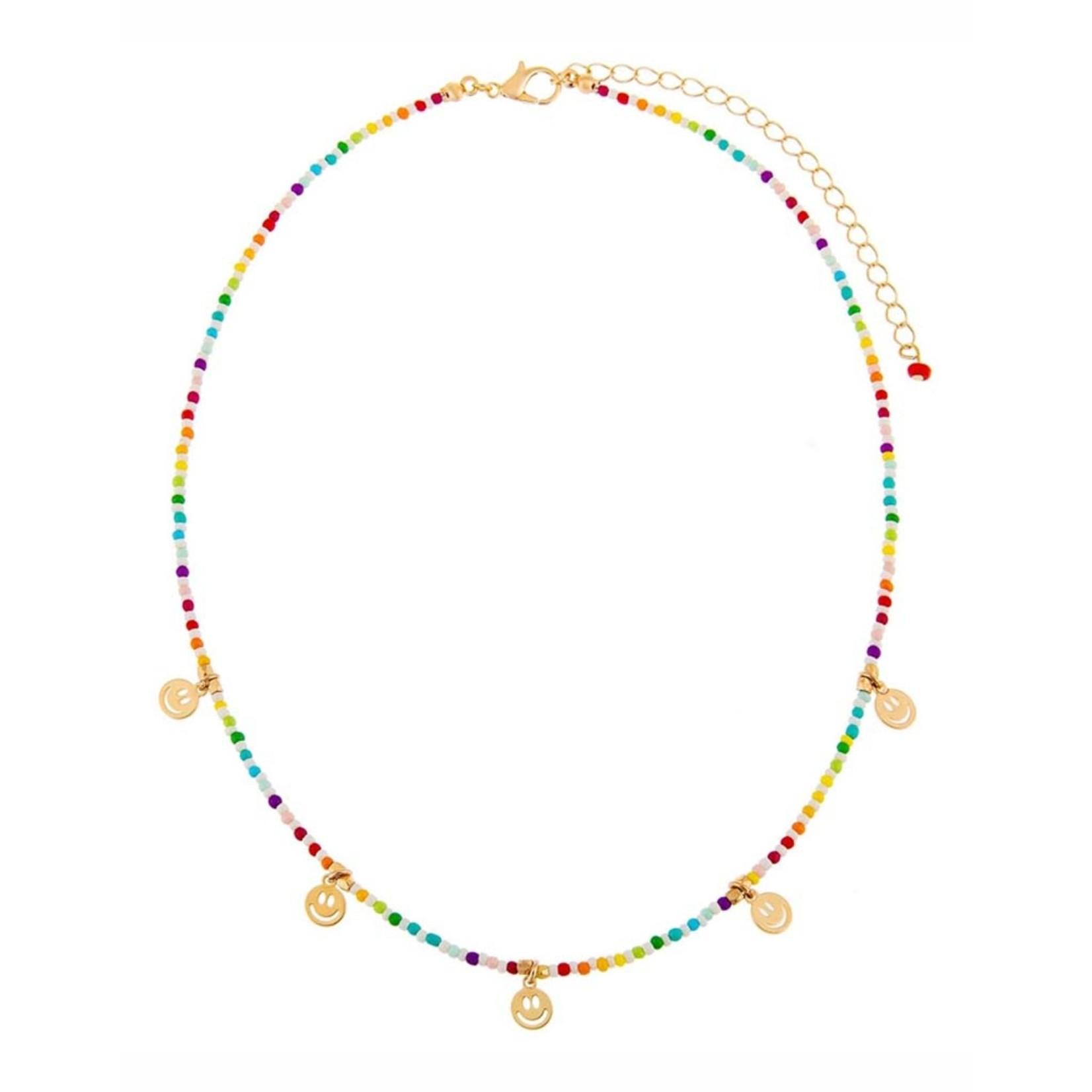 Adinas Rainbow Smiley Face Beaded Necklace