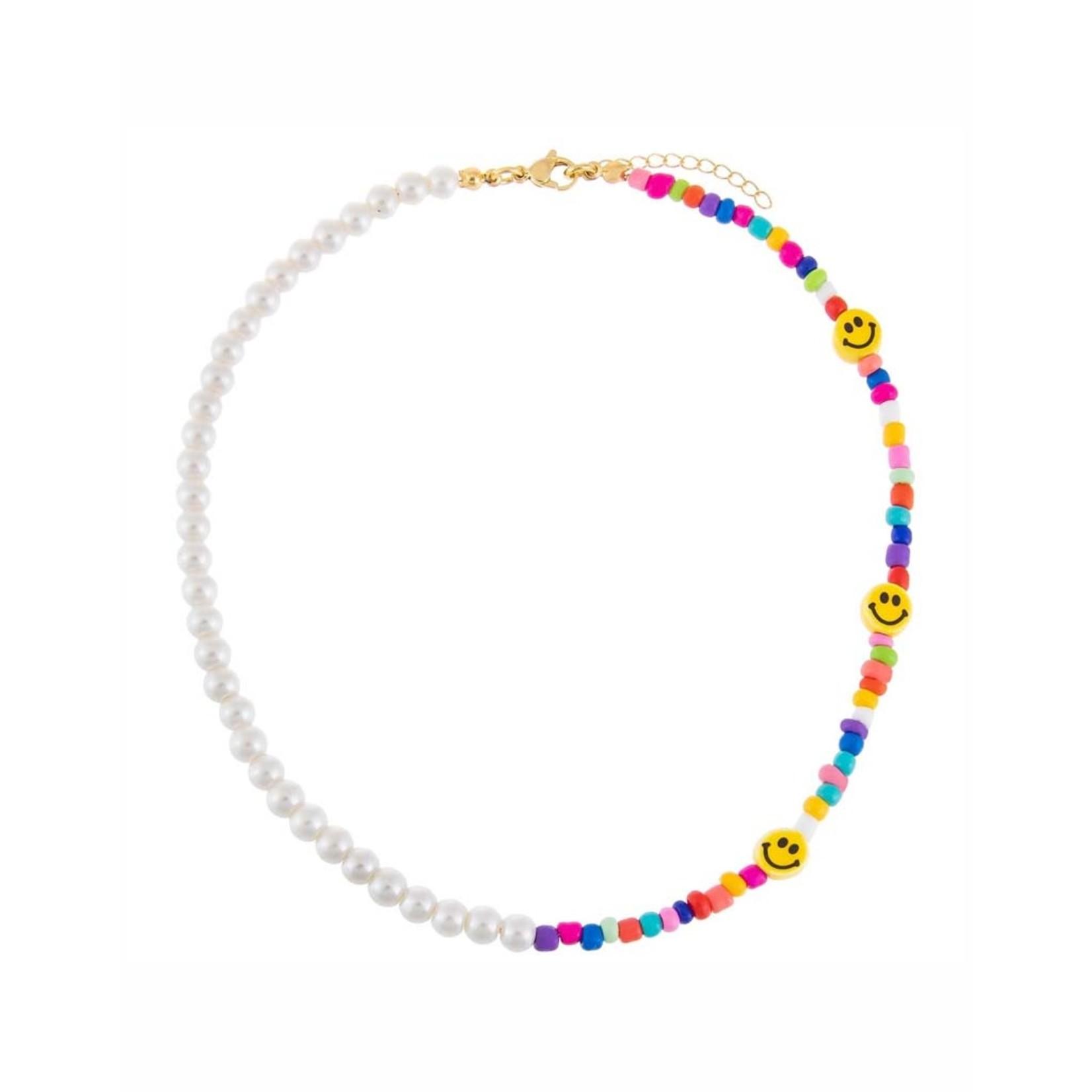 Adinas Smiley Face X Pearl Necklace