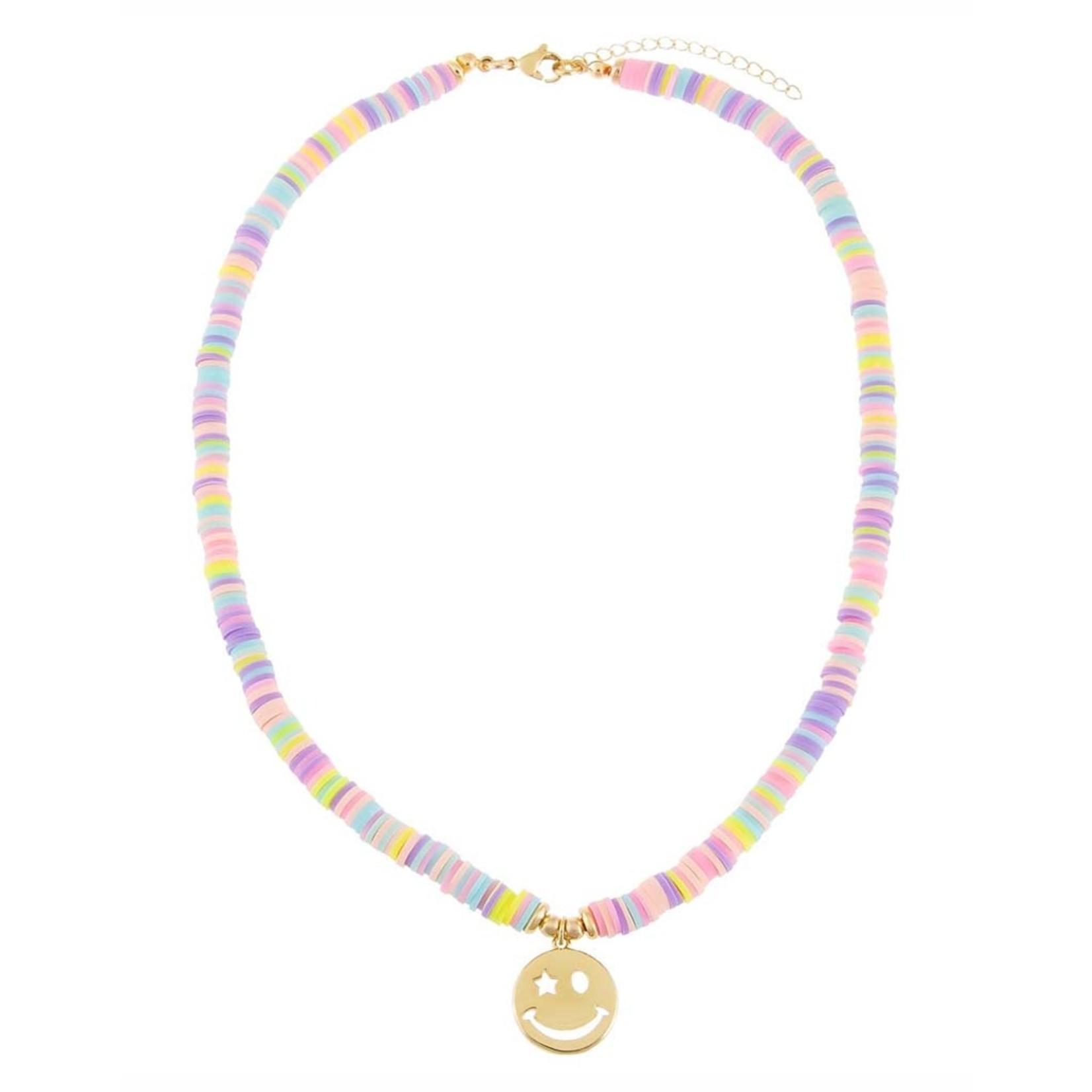 Adinas Pastel Multi Color Bead Smiley Face Necklace