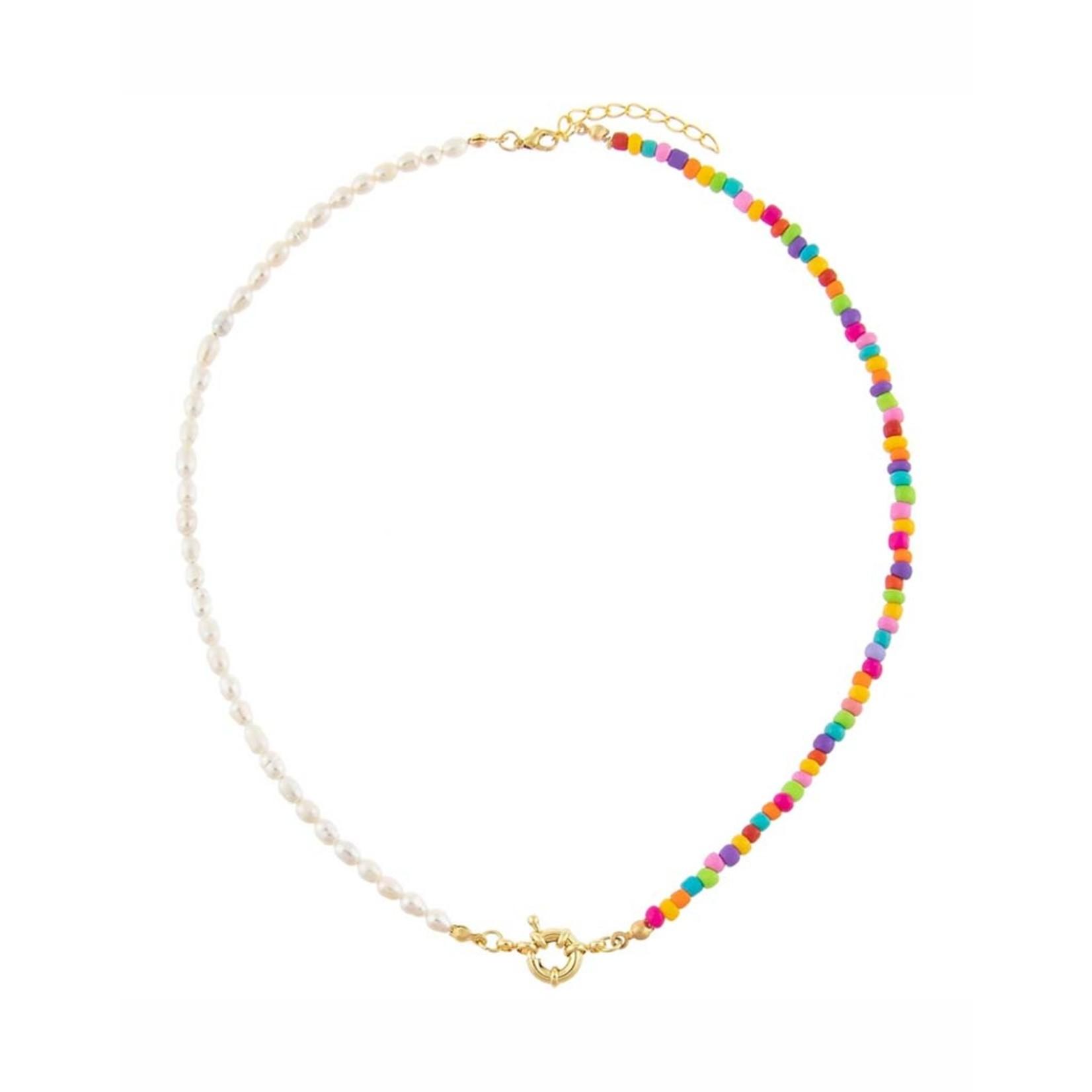 Adinas Colored Bead X Pearl Toggle Necklace