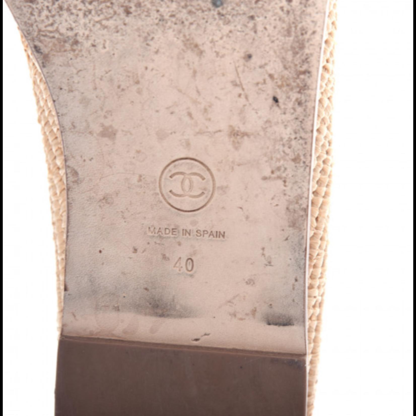 Wyld Blue Vintage Chanel CC Logo Raffia Straw Slides Sz 40