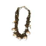 Nicole Romano Twisted, Hand Woven Mixed Chain, Cross & Oversized Pearl Necklace