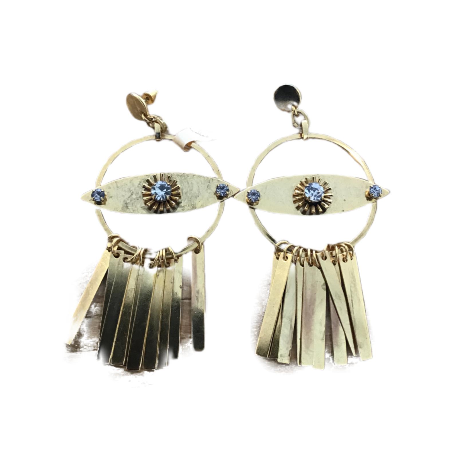 Nicole Romano Gold Hoop, Marquis & Bar Fringe Earrings