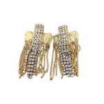 Nicole Romano Gold Crystal And Chain Dripping Cross Earrings