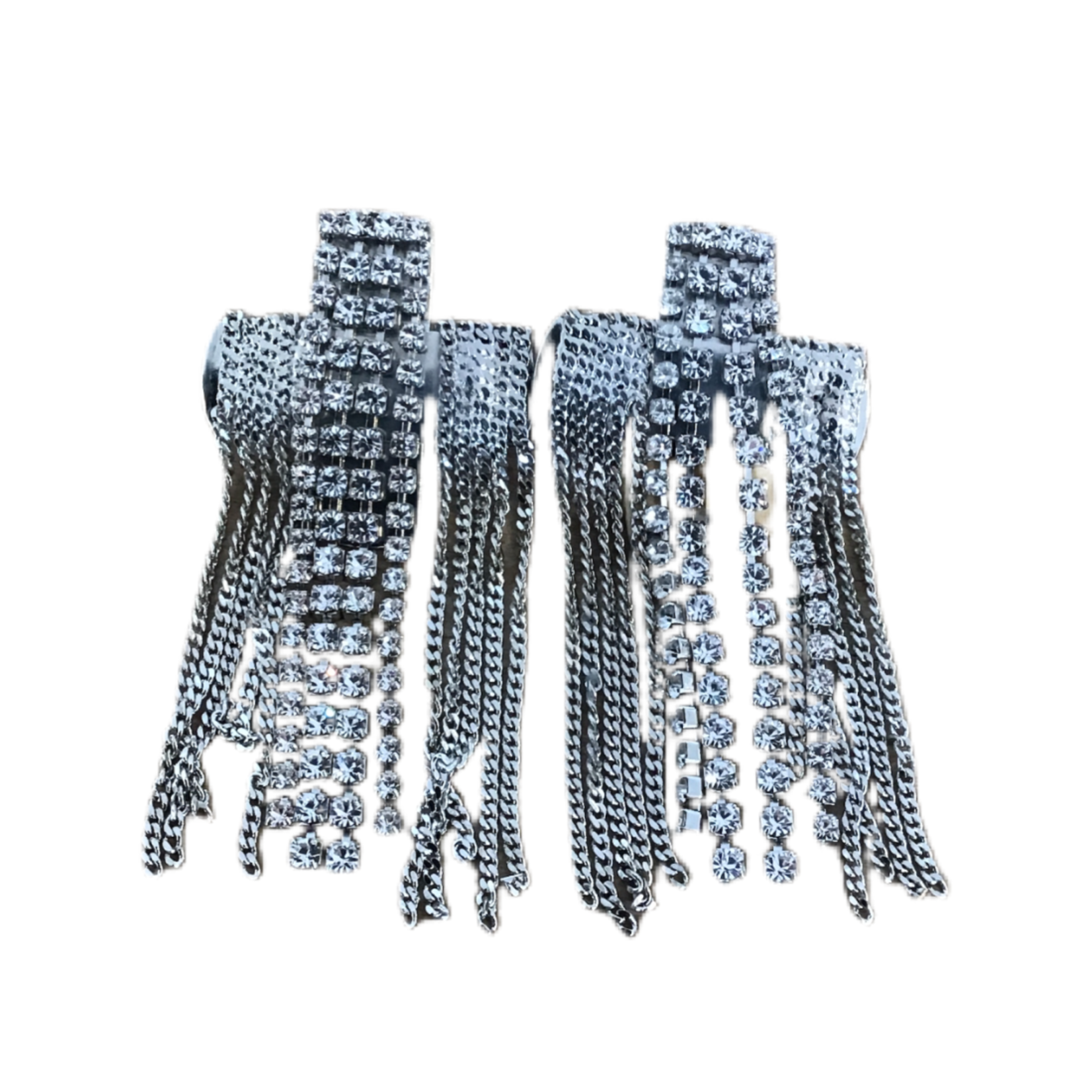 Nicole Romano Silver Crystal And Chain Dripping Cross Earrings